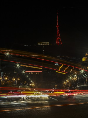 Tbilisi TV Tower lit in orange. Tbilisi joined the global orange the world campaign