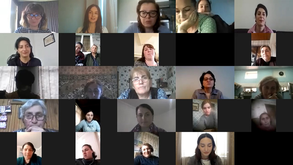 Women beneficiaries around all regions of Georgia - entrepreneurs and the women engaged in the social mobilization participate in the webinar on business development opportunities. Photo: UN Women