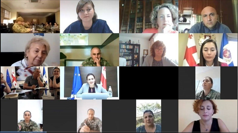 "Georgian security sector representatives participate in the online workshop - ""Gender and COVID-19 - Security Sector Experience in Georgia"". Photo: UN Women"