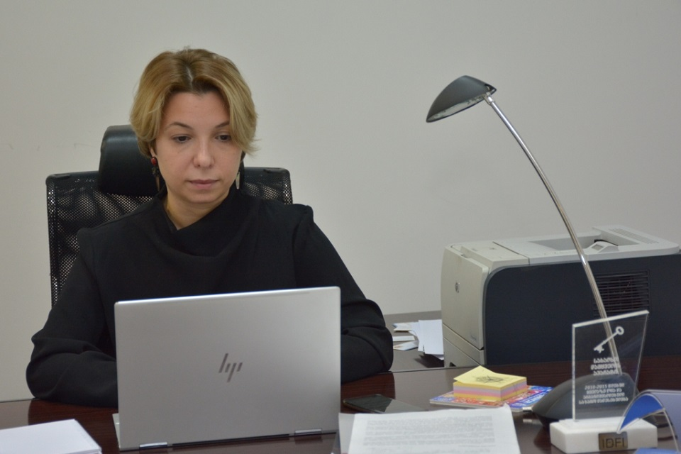 Nino Lomjaria, Public Defender attending femicide monitoring and prevention online conference. Photo: The Public Defender's Office