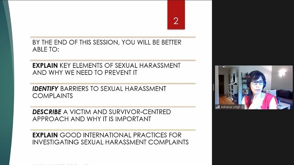 UN Women's International Consultant, Adriana Greenblatt is delivering a session about sexual harassment. Photo: UN Women