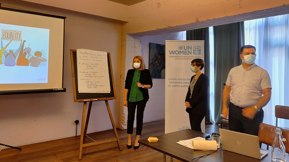 Training participants are presenting their group work. Photo: UN Women