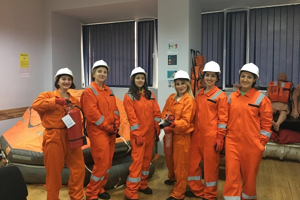 Six young women were trained for employment on cruise ships as was agreed according to the Memorandum of Understanding between UN Women and the Maritime Transport Agency, 2019. Photo: Maritime Transport Agency