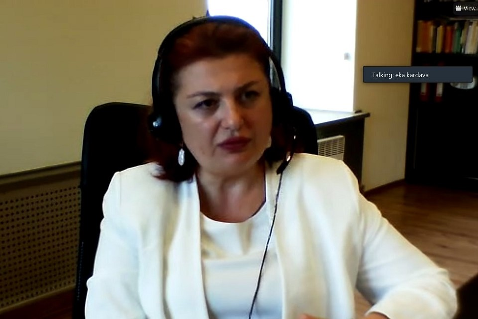 Catherine Kardava, Director of the Civil Service Bureau attending online presentation of a study report on sexual harassment in the workplace within the civil service. Photo: UN Women
