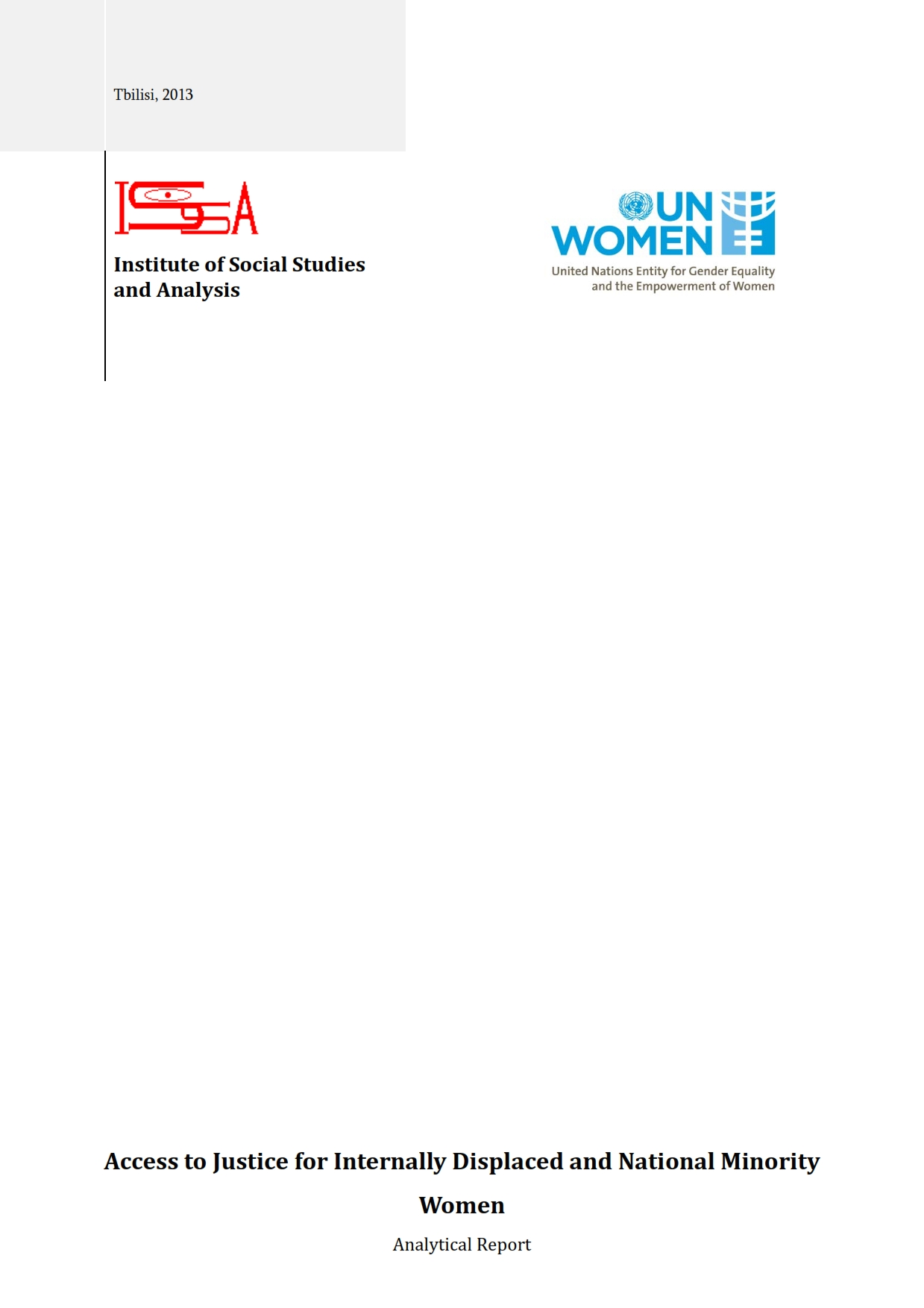 Access to Justice for Internally Displaced and National Minority Women