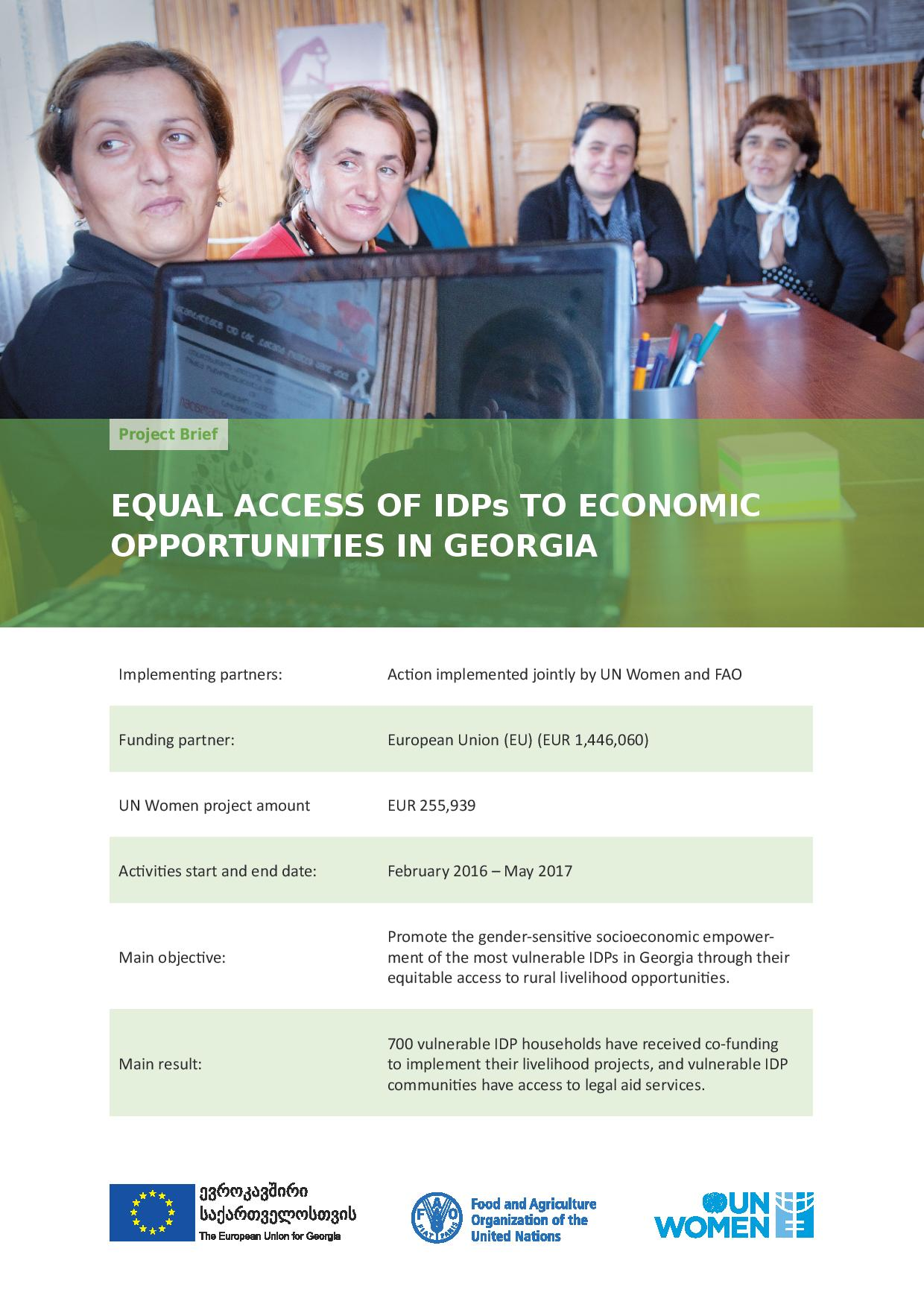 Equal Access of IDPs to Economic Opportunities in Georgia