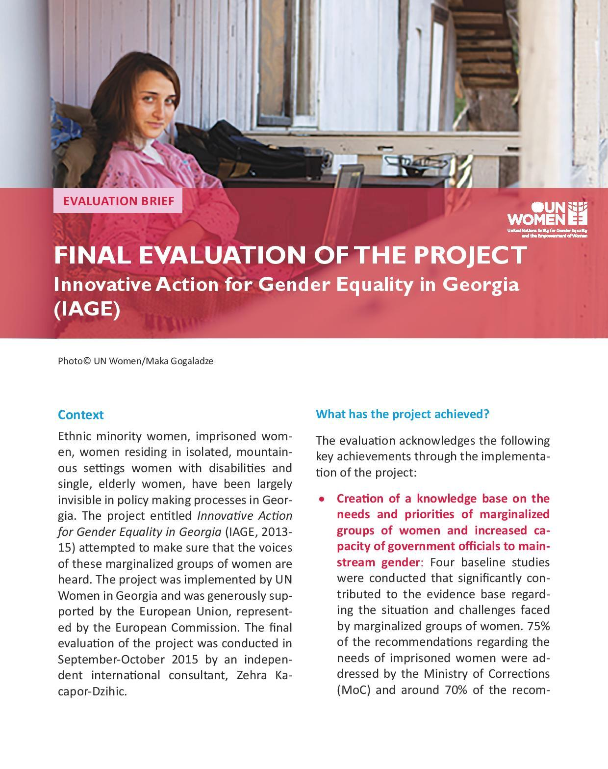 Final Evaluation of The Project Innovative Action for Gender Equality in Georgia