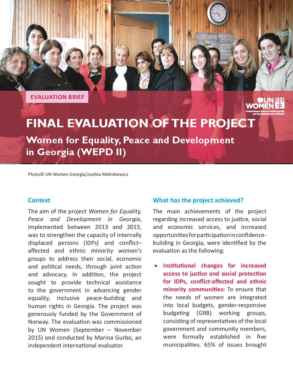 Final Evaluation of The Project Women for Equality, Peace and Development in Georgia (WEPD II)