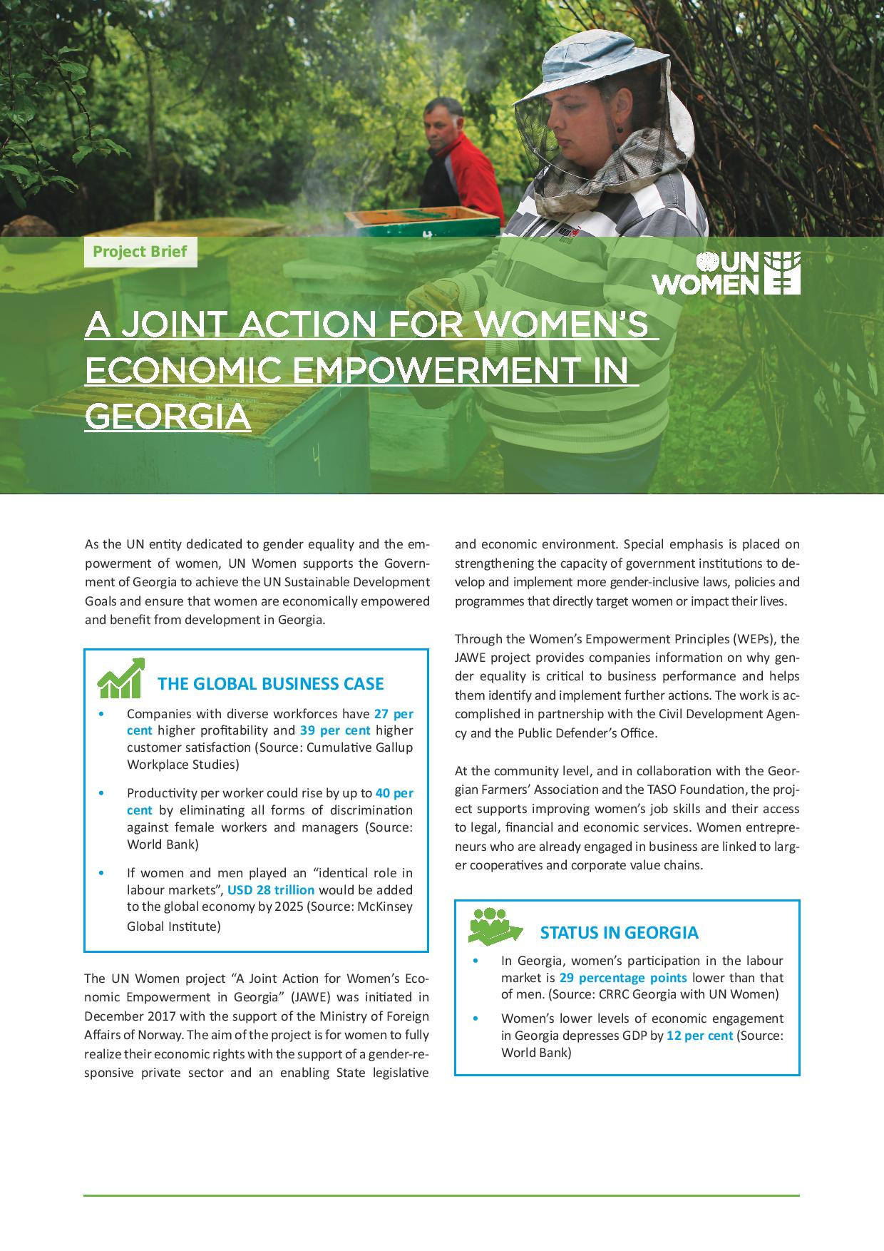 A Joint Action for Women's Economic Empowerment in Georgia