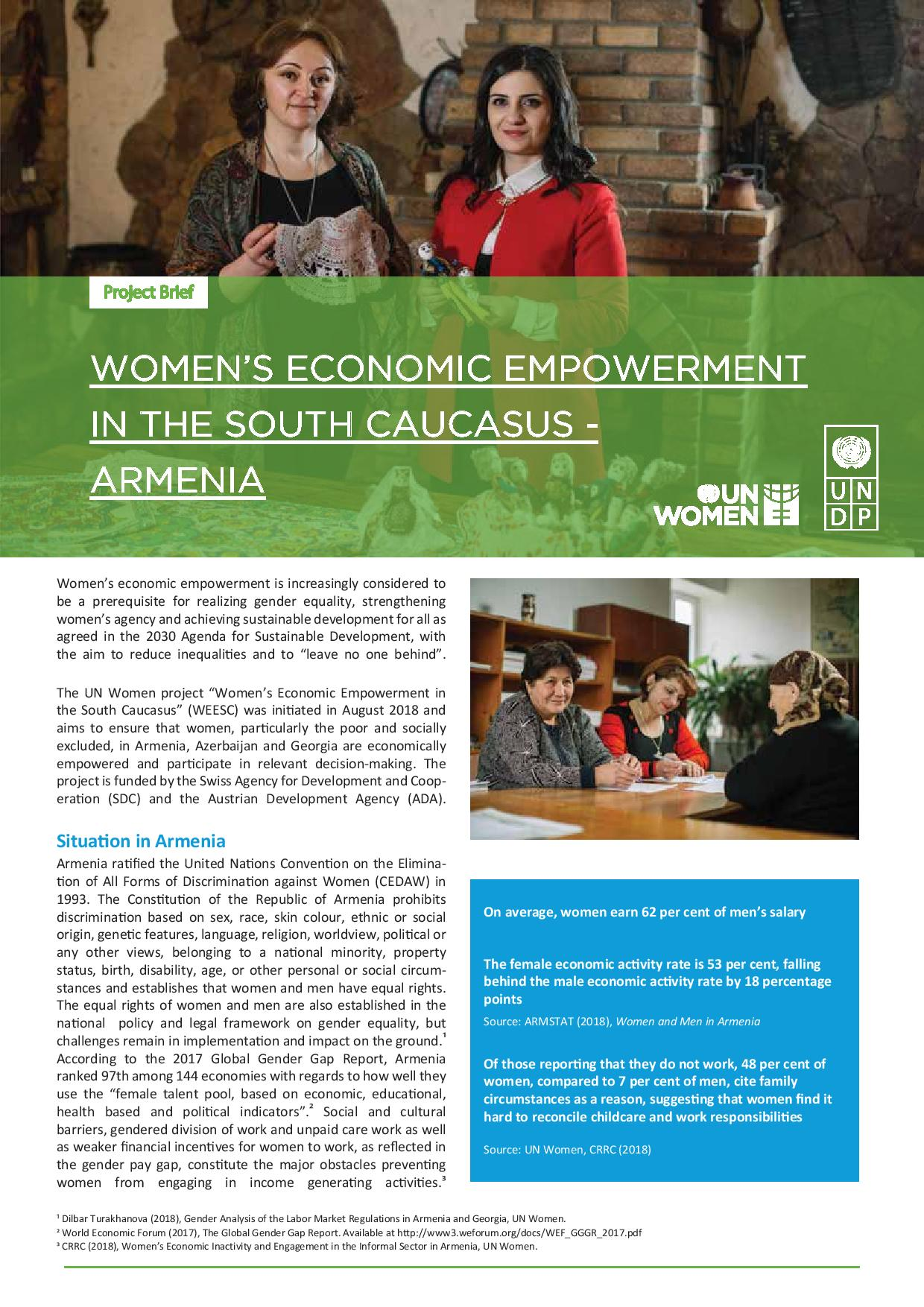 Women's Economic Empowerment in the South Caucasus - Armenia