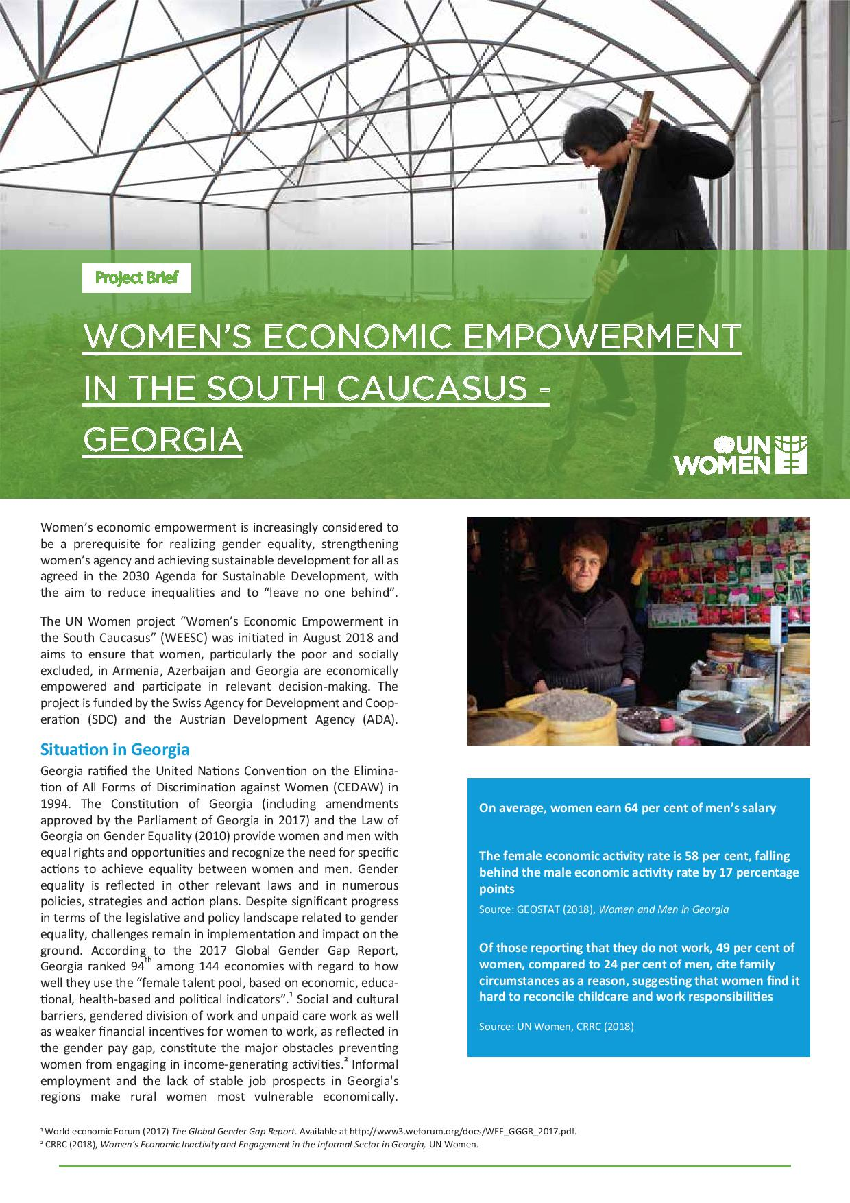 Women's Economic Empowerment in the South Caucasus - Georgia