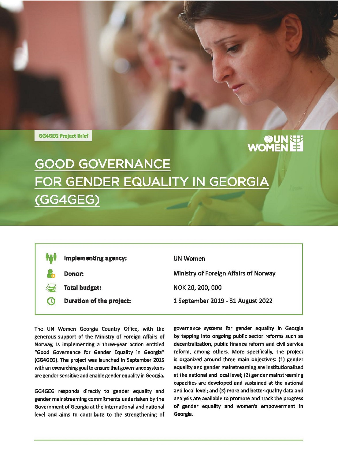 """UN Women project """"Good Governance for Gender Equality in Georgia"""""""