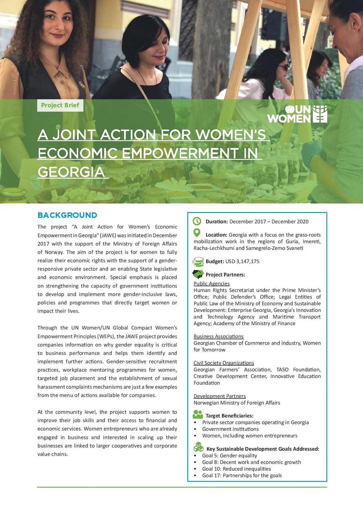 "This brief provides a short description of the UN Women project ""A Joint Action for Women's Economic Empowerment in Georgia"""