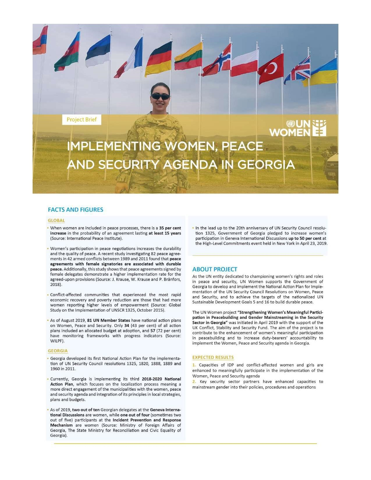 """short description of the UN Women project """"Strengthening Women's Meaningful Participation in Peacebuilding and Gender Mainstreaming in the Security Sector in Georgia"""""""
