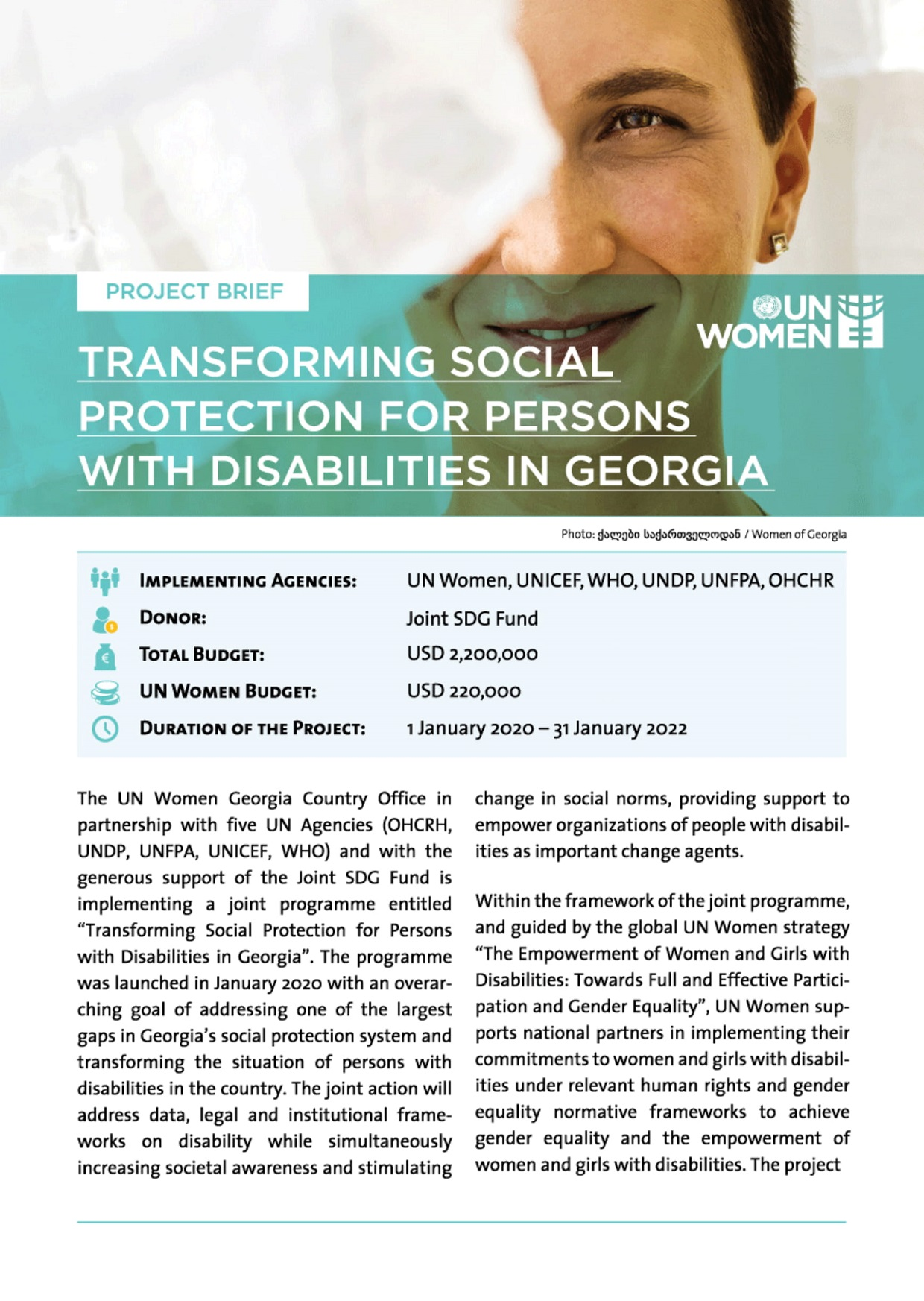 Transforming Social Protection for Persons with Disabilities in Georgia. Photo: UN Women