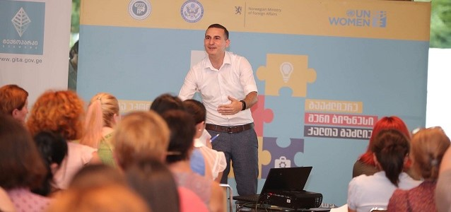 Lasha Koberidze, the representative of the Academy of the Ministry of Finance leading session on business management