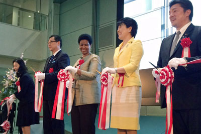 Holding inaugural ribbons at a ceremony for the opening of the new office in Bunkyo City, were (left to right): UN Women Liaison Office Director Kayoko Fukushima, Mayor of Bunkyo City Hironobu Narisawa, UN Women Executive Director Phumzile Mlambo-Ngcuka, Minister in Charge of Women's Empowerment Haruko Arimura, and State Minister for Foreign Affairs Yasuhide Nakayama. Photo: UN Women/Kristin Hetlet