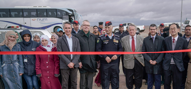 Mr. Ziad Sheikh, UN Women Jordan Country Representative, HE Mr. Matti Lassila, Ambassador of Finland to Lebanon and Jordan; Colonel Mohammad Sayaideh, Azraq Camp Manager, HE Mr. Giovanni Brauzzi, Ambassador of Italy to Jordan; HE Mr. David Bertolotti, Ambassador of France to Jordan; and HE Mr. Hidenao Yanagi, Ambassador of Japan to Jordan inaugurated the launch its first 'Oasis for Women and Girls' in the Azraq refugee camp opening. Photo Credits: Chris Herwig