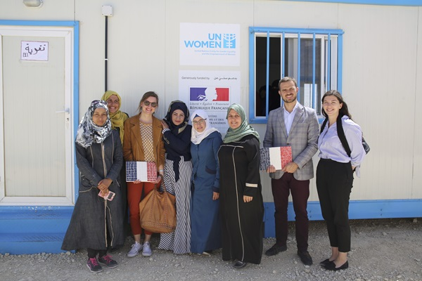 Women of the Oasis handed over a mosaic plaque of the French flag, a gift for the delegations visit and gratitude for the continued support from the French Government.