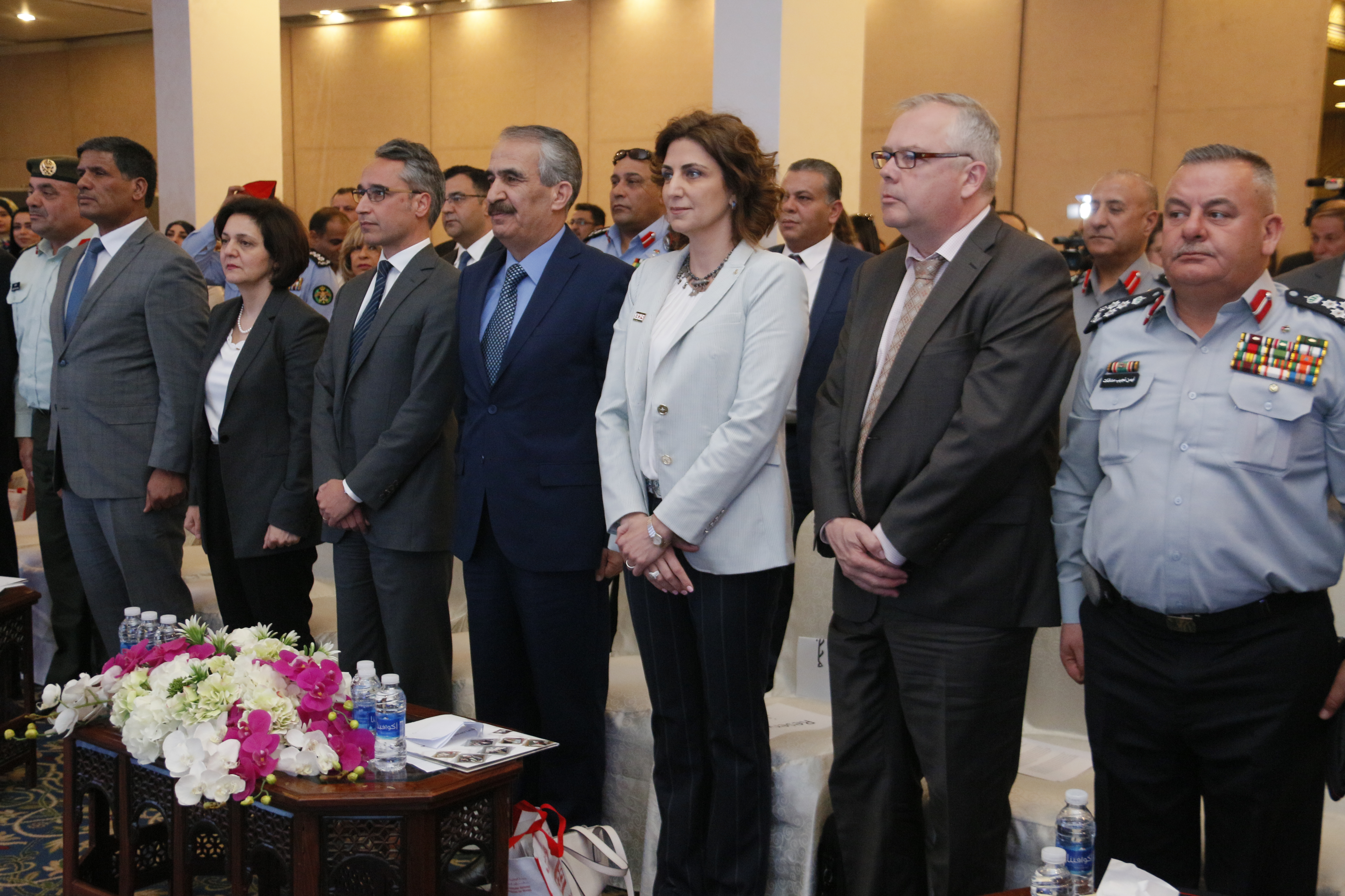 The launch was comprised of official representatives who provided speeches throughout the event including; Representative to the Chairman of the Joint Chief of Staff, Jordanian Armed Forces, Arab Army, L.T. General Mahmoud Freihat; Minister of Social Development, H.E Mrs. Hala Latouf; UN Women Jordan, Country Representative, Mr. Ziad Sheikh; The Minister of Interior Jordan, H.E Mr. Samir Mubaidin; Secretary General of the Jordanian National Committee for Women, Dr. Salma Al-Nims; The Ambassador of the Republic of Finland to Lebanon and Jordan, H.E Mr. Matti Lassila and Director of the Syrian Refugees' Affairs Department, Mr. Ahmad Kfaween.