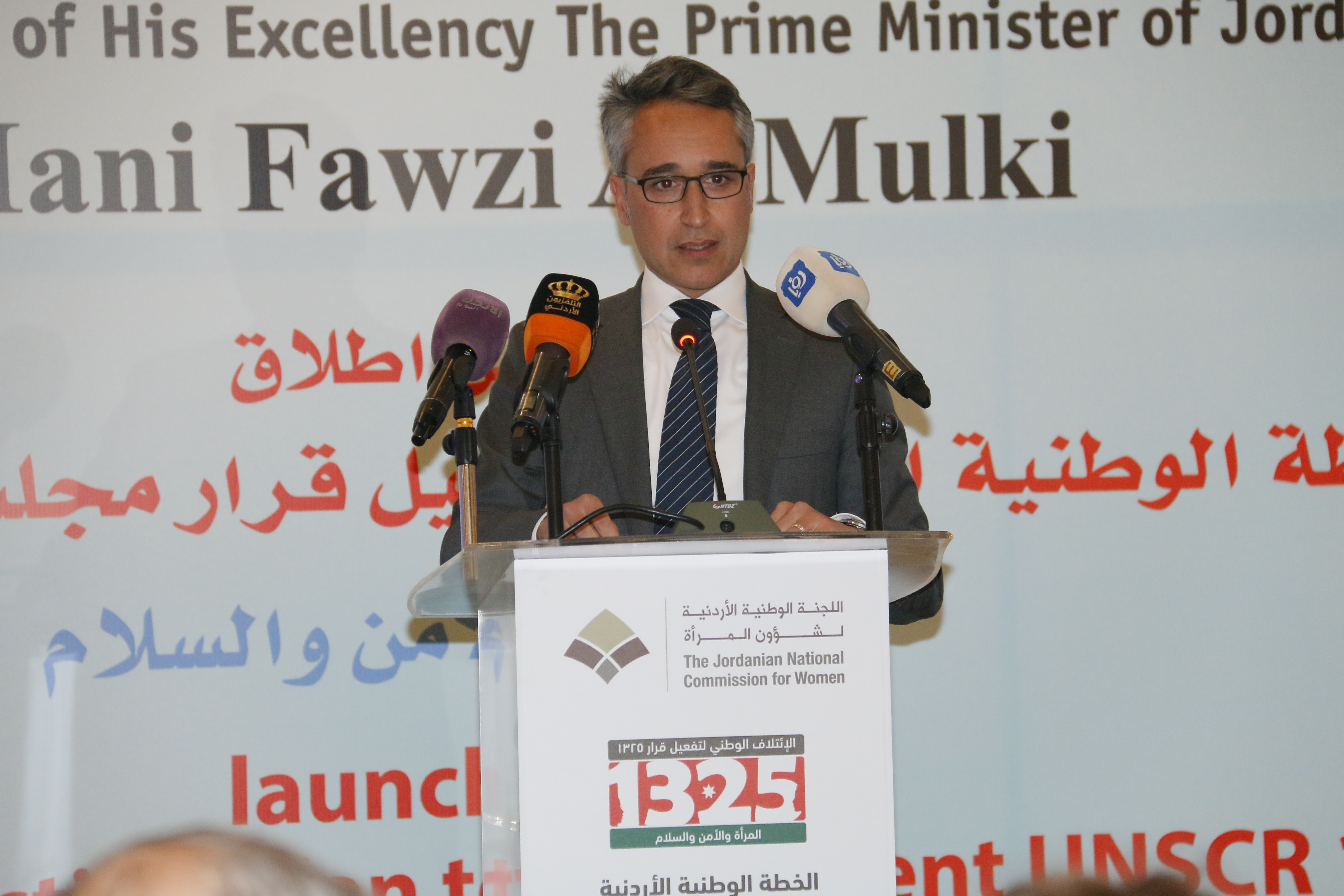 Ziad Sheikh, UN Women Jordan Representative, attends the JONAP Launch event commencing the ceremony with opening remarks on behalf of UN Women.