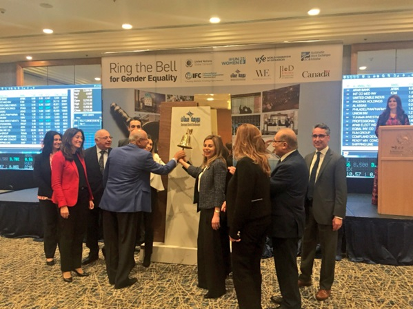 """""""Ring Bell for Gender Equality"""" initiative hosted by the Amman Stock Exchange (ASE) and IFC Bank Group in partnership with UN Women Jordan. The day included a host of guest speakers that will commented upon the opportunities for the private sector to advance gender equality and sustainable development, including the 'Ringing of the Bell. The group of official representatives and partners 'ringing the bell' at 10:30am."""