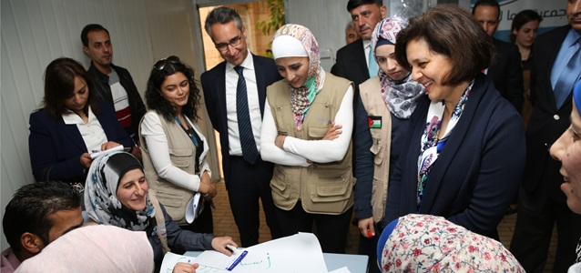 UN Women Country representative, Mr. Ziad Sheikh accompanied the Minister of Social Development, H.E. Ms. Hala Lattouf on her tour of the UN Women Oasis. Ms. Hala Latouff interacted with the women within the remedial education sector as they undertake the lessons of the day, the lessons are provided to women,  girls and children throughout the week.