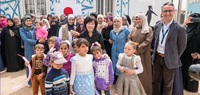 The First Lady of Japan, Mrs. Akie Abe and UN Women Country Representative Mr. Ziad Sheikh, received a warm welcome from the women and girls within the UN Women Oasis. Photo Source UN Women/Christopher Herwig