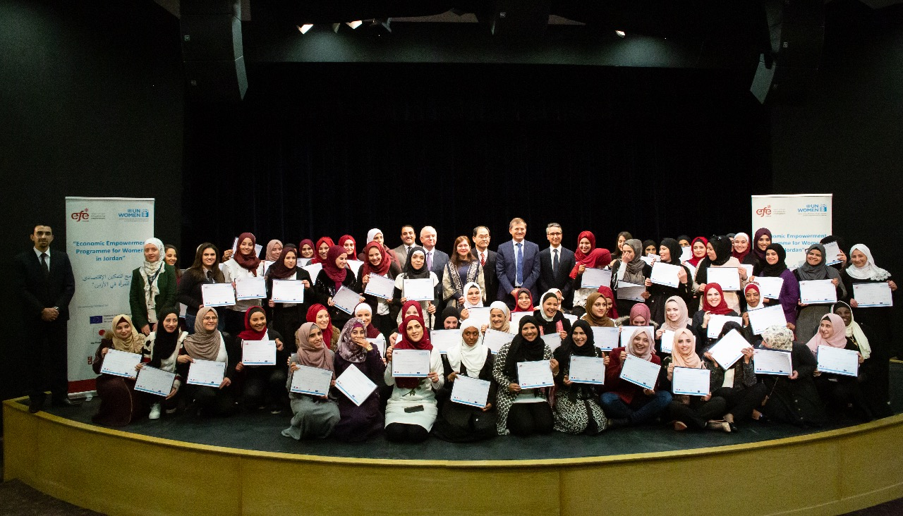 Over 100 young women from Amman and Zarqa graduate from professional development trainings to access the labour market