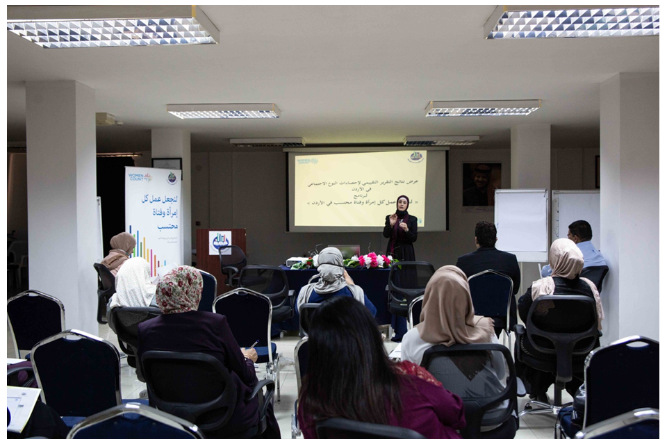 Representatives from various departments within the Departments of Statistics (DOS) participate in the introductory workshop on Institutional Capacity Development. Photo: UN Women/ Majd Abu Zaghlan