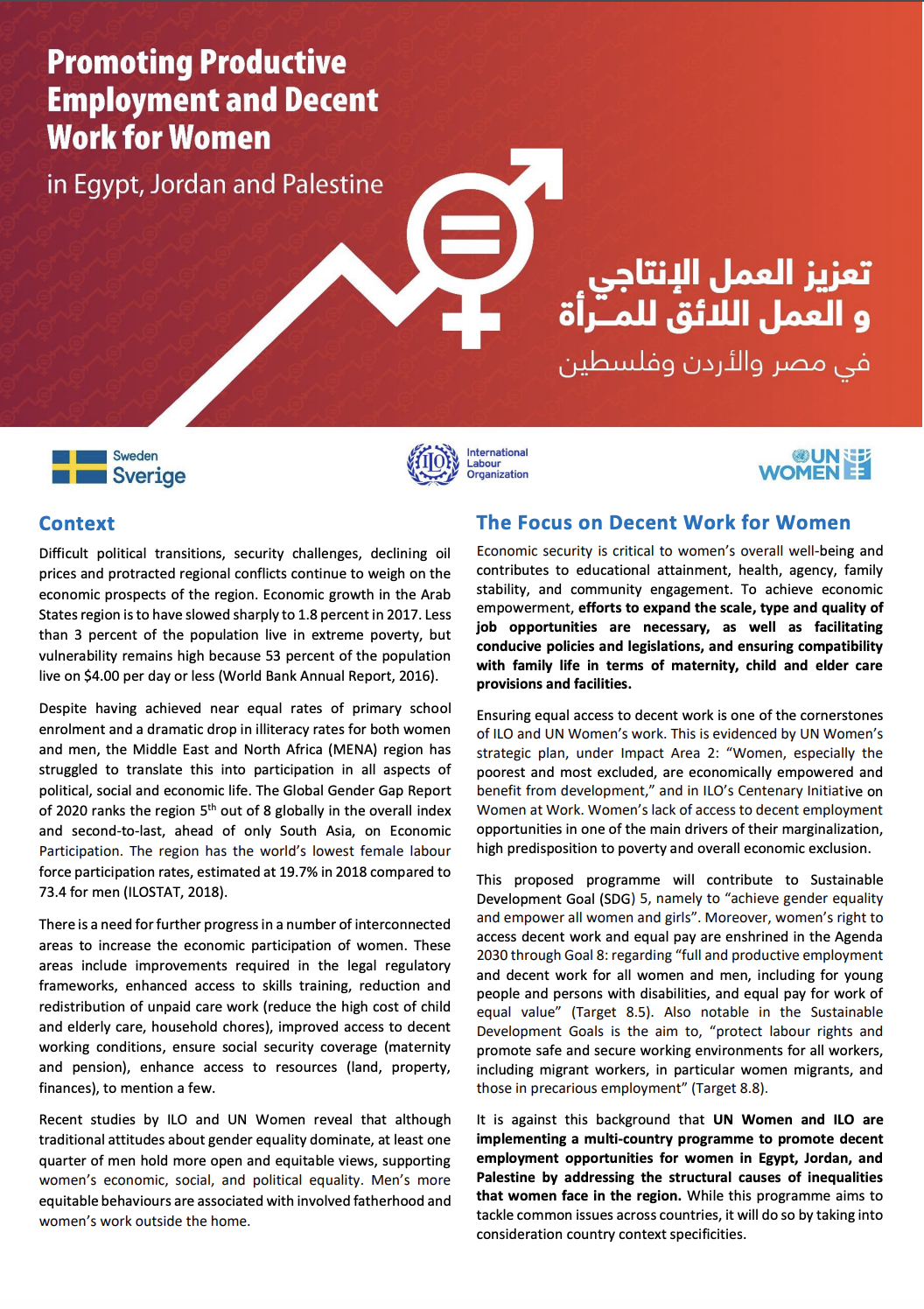 Promoting Productive Employment and Decent Work for Women in Egypt, Jordan and Palestine