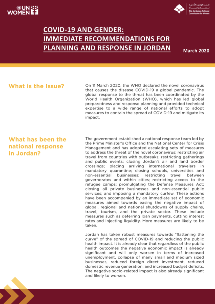 COVID-19 and Gender: Immediate Recommendations for Planning and Response in Jordan