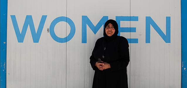 Fatima Alhaj, 50, is utilizing her passion for teaching at the UN Women Oasis to empower children and women to succeed. Photo: UN Women/Lauren Rooney