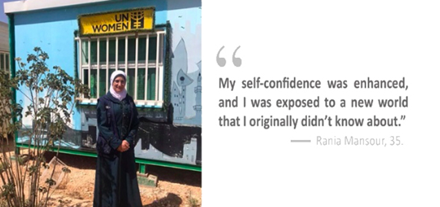 Rania Mansour, 35, graduated from the UN Women cash-for-work programme to open her own salon. Mansour stands in front of the Oasis she used to attend. Photo: UN Women/Nisreen Elmolla