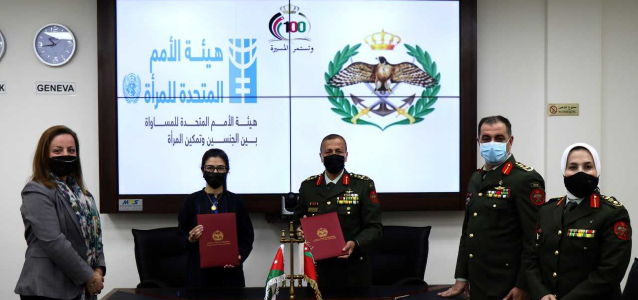 Brigadier General Eng. Bassam Al-Falih, Director of Planning and Organization, on behalf of the General Command of the Jordanian Armed Forces, and Ms. Aisha Mukhtar, UN Women Deputy Representative convened to sign the extension of the Memorandum of Understanding with UN Women. Photo courtesy: The Jordanian Armed Forces