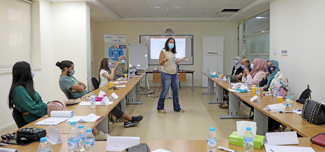 """A selected group of media professionals at JMI engaged in an intensive training workshop on 25 August 2021 under """"Capacity Building for Gender Equality in the Media"""" project, to change the way women and gender-related issues are portrayed on media outlets. Photo: Jordan Media Institute/ Almothana AL Mahdawi"""