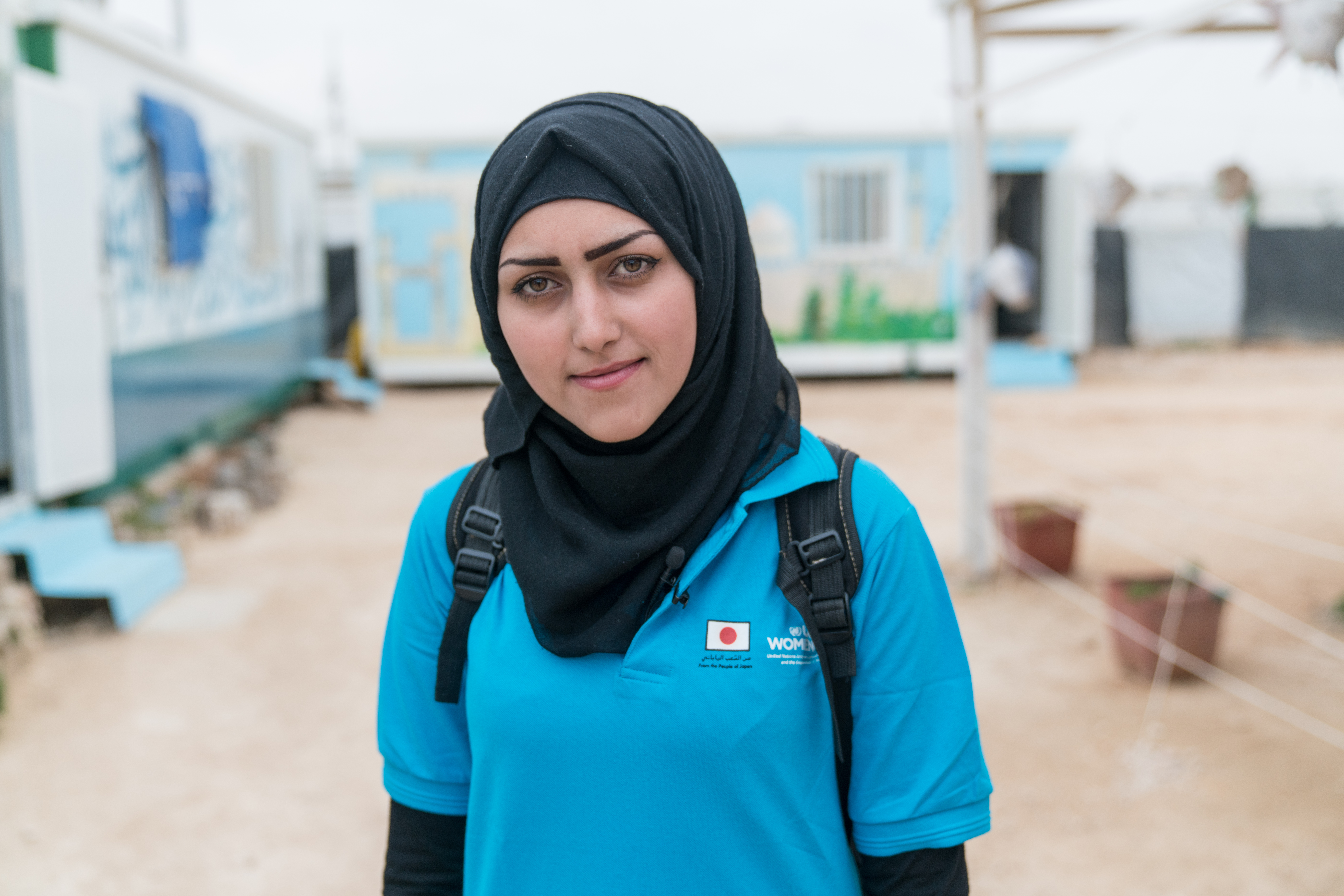 Areej is engaged in UN Women's cash for work programme as an assistant within the Oasis. The Oases are Safe Spaces which offer comprehensive gender focused support to refugees through protection services, employment opportunities, community engagement and decision-making. Photo credits: UN Women Jordan/Christopher Herwig
