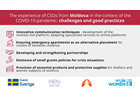 The experience of civil society organizations from Romania and the Republic of Moldova in the context of the COVID-19 pandemic: challenges and good practices