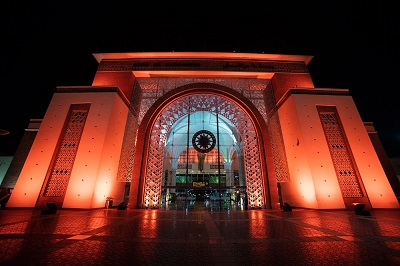 Morocco Marrakech Train Station oranged for the 16 days of activisme UN Women