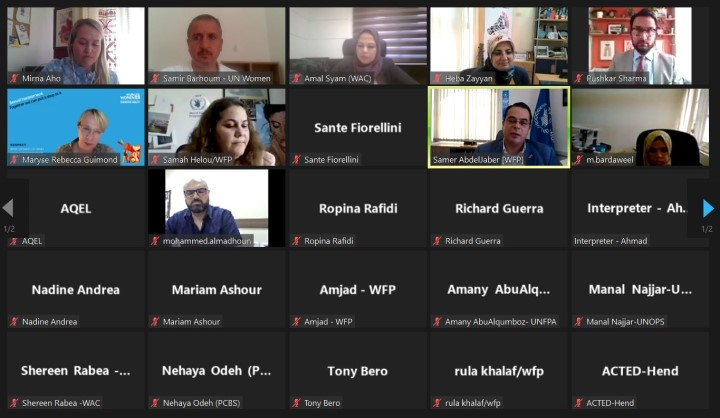 More than 50 representatives of UN agencies, civil society organizations, donors and other stakeholders take part in an online roundtable discussion on Wednesday 25 August 2021 to tackle the role of gender-sensitive cash and voucher assistance in responding to the needs of the whole population in Palestine – UN Women photo