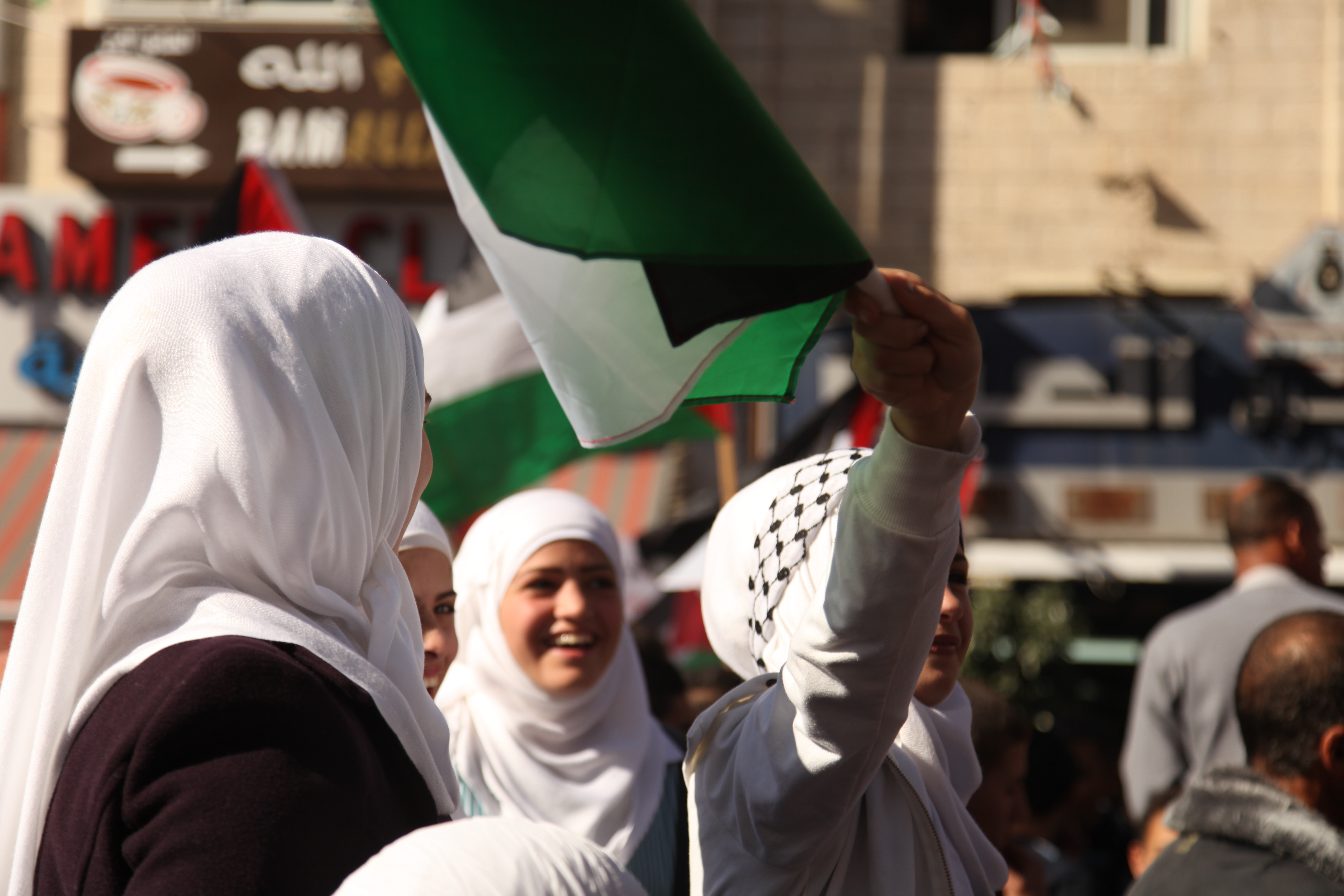 Palestinian girls celebrating new status of Palestine at the United Nations (Photo: UN Women/Mouhssine Ennaimi)