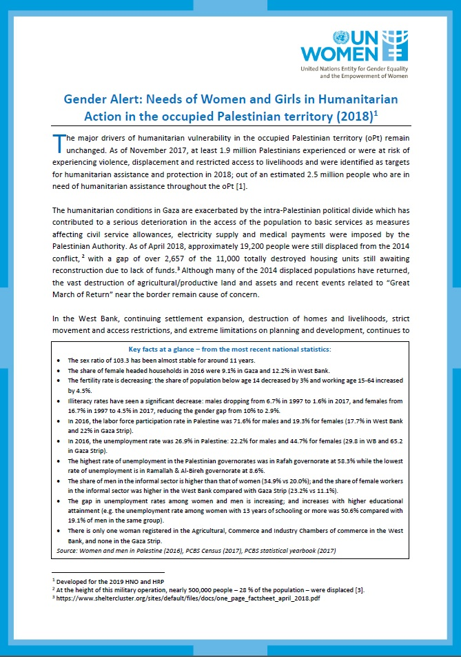 Gender Alert: Needs of Women and Girls in Humanitarian Action in the occupied Palestinian territory (oPt)