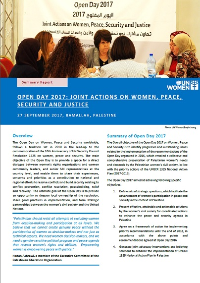 Open Day 2017: Joint Actions on Women, Peace, Security, and Justice