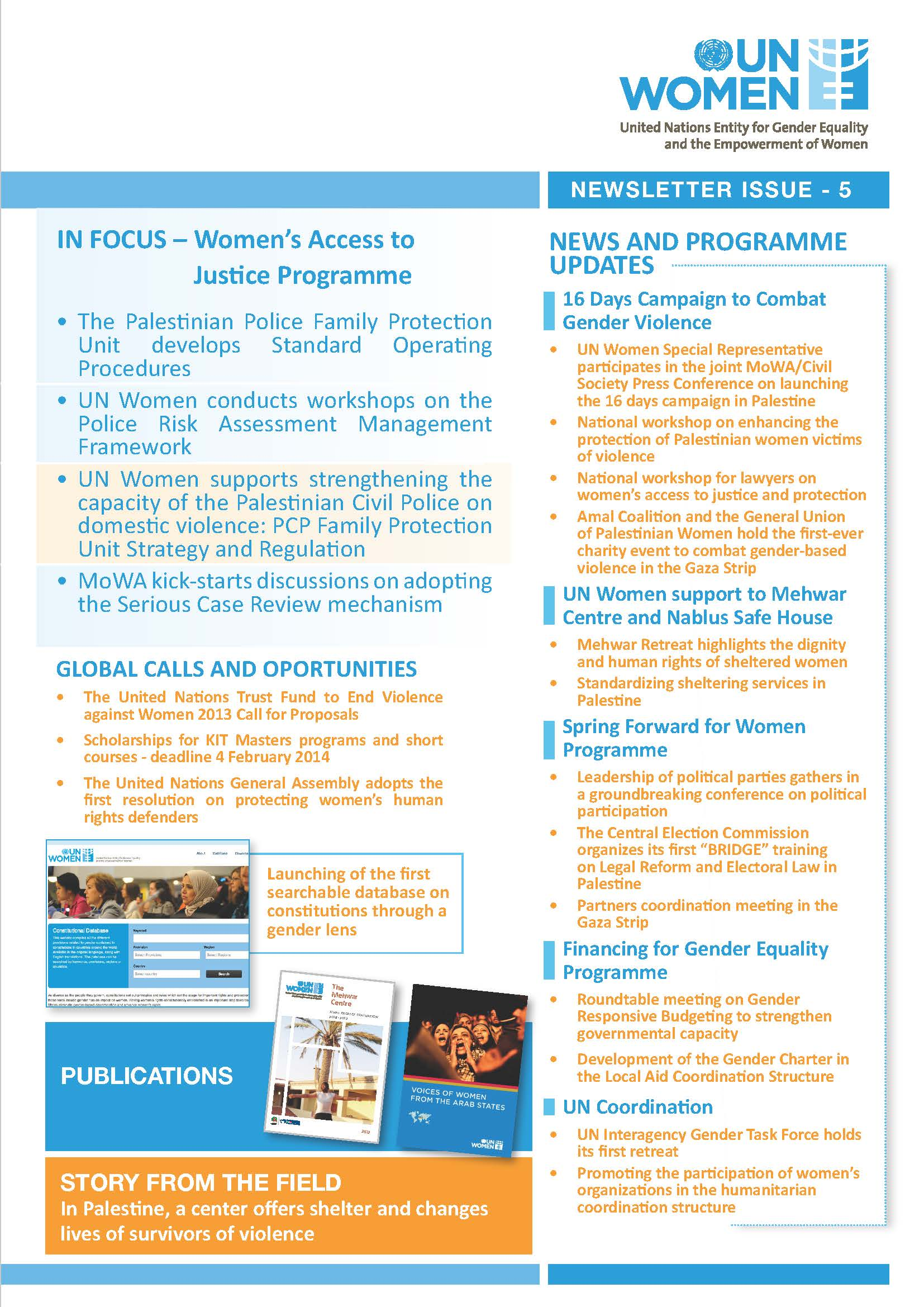 UN Women in Palestine Newsletter 5