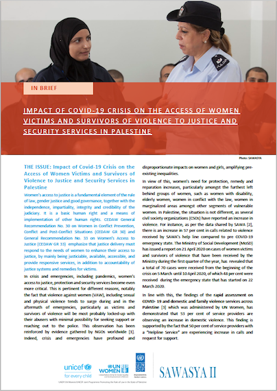 Impact of COVID-19 Crisis on the Access of Women Victims and Survivors of Violence to Justice and Security Services in Palestine