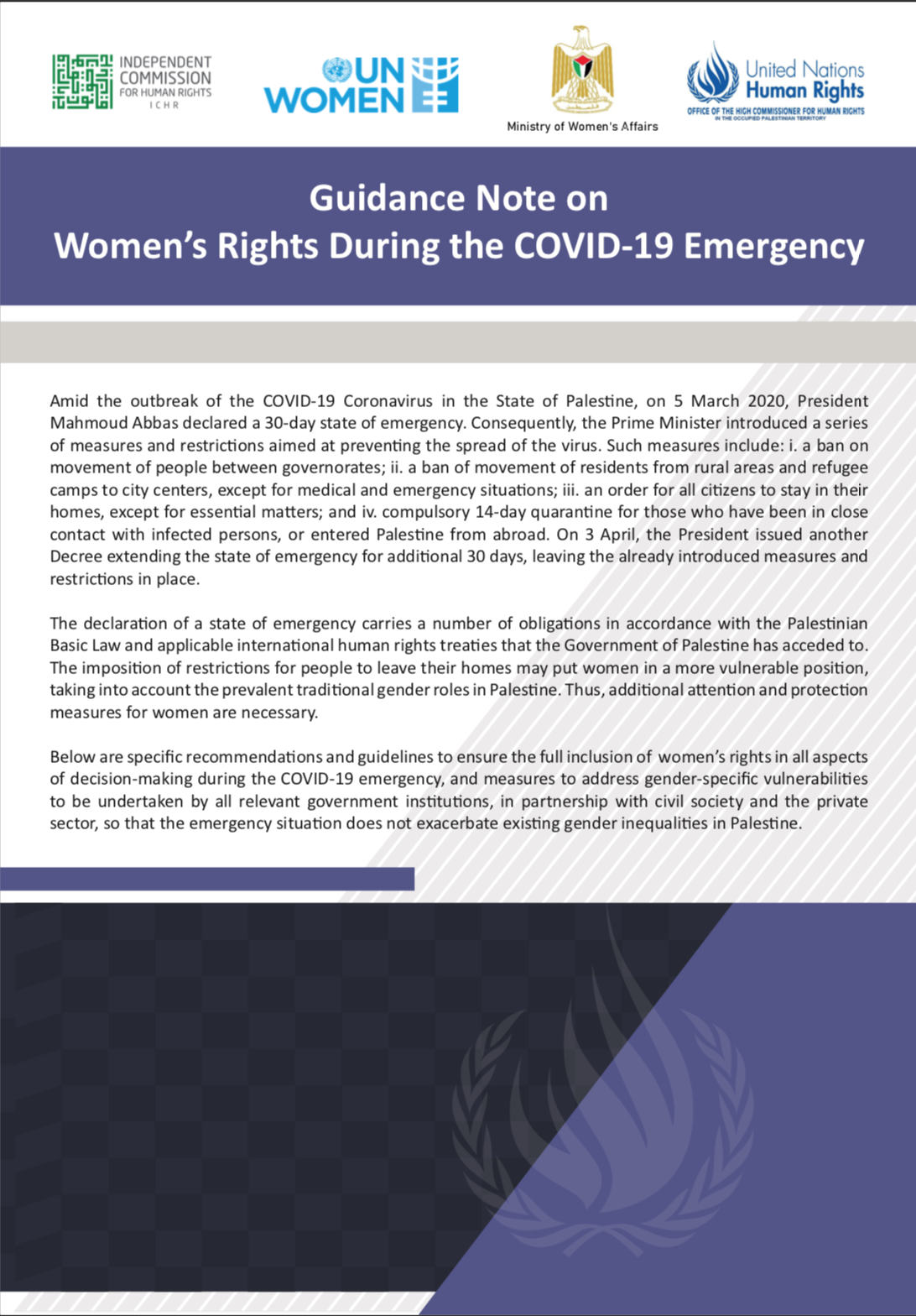 Guidance Note on Women's Rights During the COVID-19 Emergency