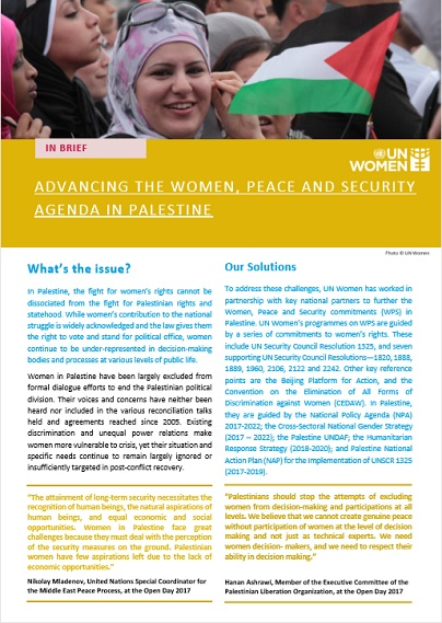 Advancing the Women, Peace and Security Agenda in Palestine