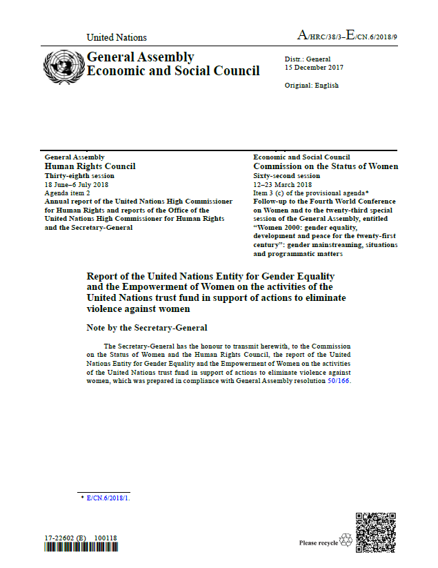 UN Trust Fund Report to the Commission on the Status of Women 2018