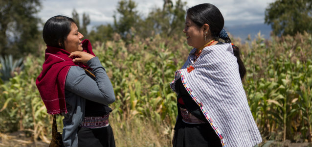 Martha Chango (right) in Tungurahua province where she works as the Municipal Councilor of Pelileo and the Chair of the Gender Commission. Photo:Michelle Gachet / UN Women
