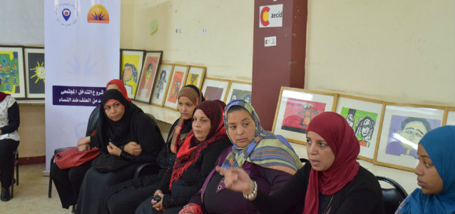 A meeting in the Al-Shehab community drop-in centre in Cairo, Egypt. Photo: Aldijana Sisic/UN Trust Fund/UN Women